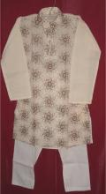 Cotton kurta pajama for children.  Kurta is cream with heavy embroidery all over. The pajama is plain white. Sizes available for kids aged 1 year old and up.