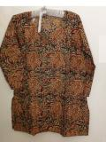 Cotton Kalamkari Kurti Tunic in Orange/Black from India