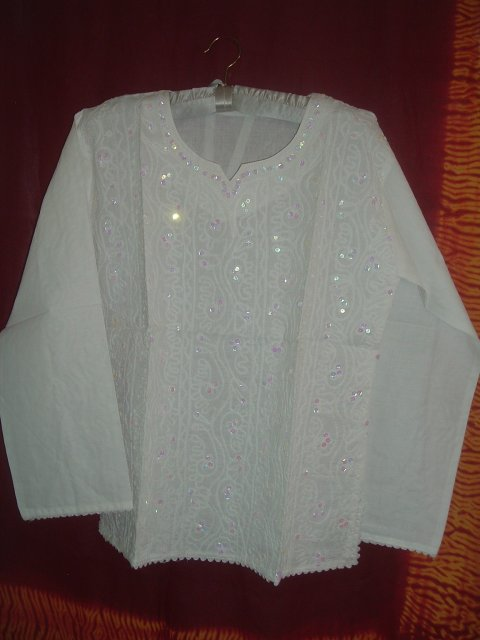 Embroidered White Cotton Kurta For Teen Girls Amp Women