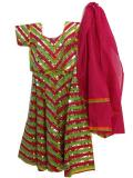 Kids Colorful Cotton Chaniya Choli Set With Backless Blouse