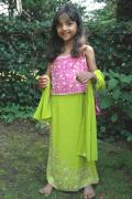 Exquisite pink & green lehenga choli suit for girls (LC3402)