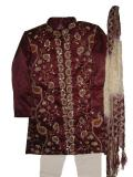 Boys Sherwani in Tissue Silk, Maroon with Zardozi Work (KP65009)